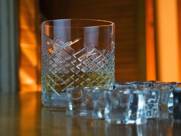 European Crystal Double Old Fashioned Tumblers -Whiskey - Bourbon - Water - Beverage - 13 OZ. - Set of 6
