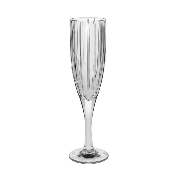 European Lead Free Crystalline Wedding Champagne Flute Glasses  -  Classic Clear Striped Design- 8 oz. - Set of 6