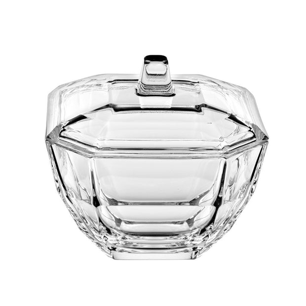 "European Lead Free Crystalline Octagon Shaped Candy / Jewelry Box With Cover - 4.3"" Diameter"