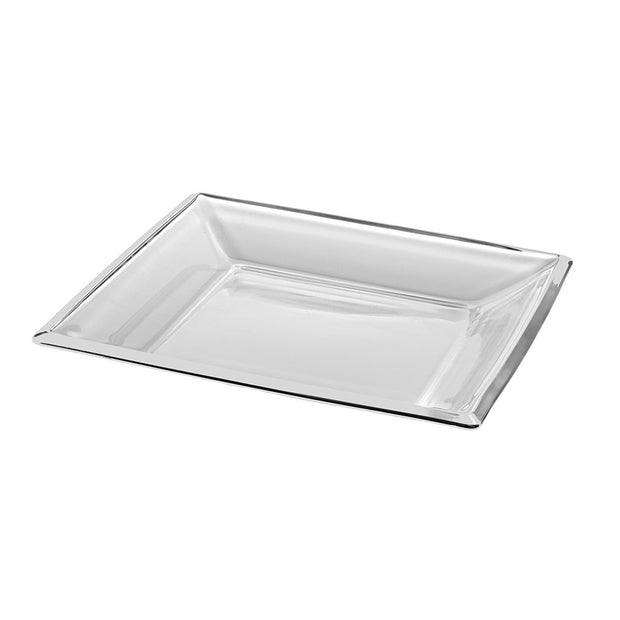 "European Lead Free Crystalline Centerpiece Tray - Shallow Bowl - Platter - 13.7"" Square - 1.5"" Height"