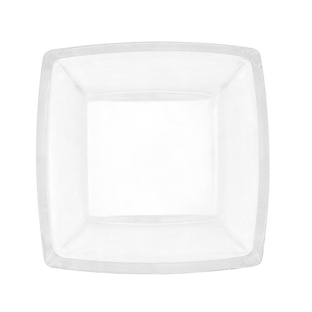 "European Lead Free Crystalline Salad / Dessert Square Plate -Artistically Designed- 7"" Diameter - Set of 6"