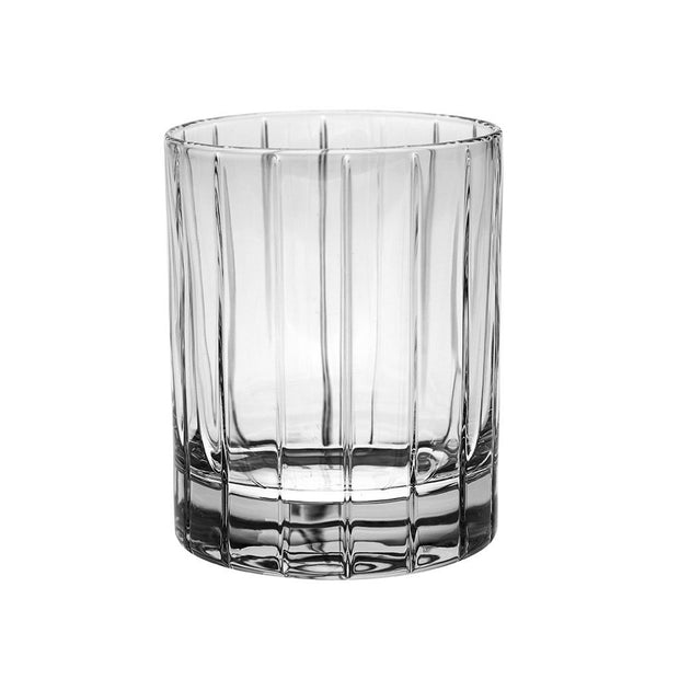 European Crystal Double Old Fashioned Tumblers W/ Classic Clear Striped Design - 13 Oz. -Set of 6