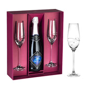 European Handmade Lead Free Crystalline Champagne Flutes- With Empty Space in the Center to Fit your own bottle of wine - decorated W/ Real swarovski Diamonds - Gift Boxed