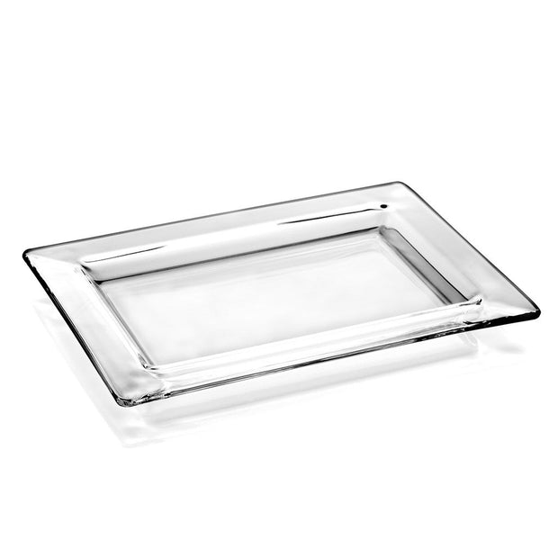 "European Glass Rectangular Serving Tray/ Platter-W/ Rim- 9.5"" Long, 7"" Wide"