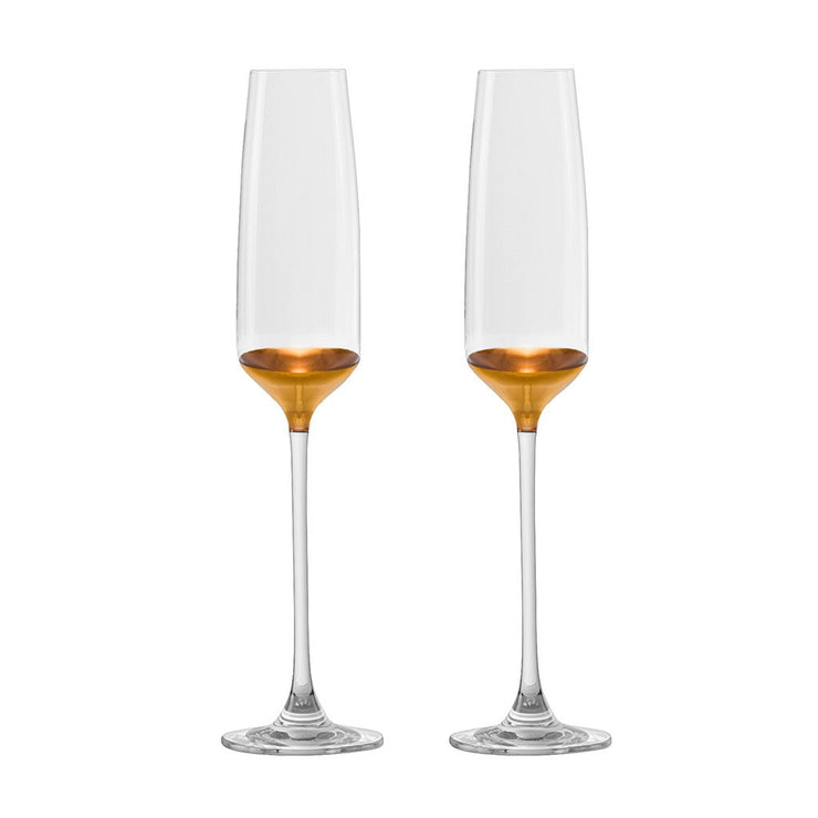 European Handmade Lead Free Crystalline Champagne Flutes- Decorated And Dipped in 20 K gold on the bottom - 5.75 oz. - Gift Boxed- Set of 2