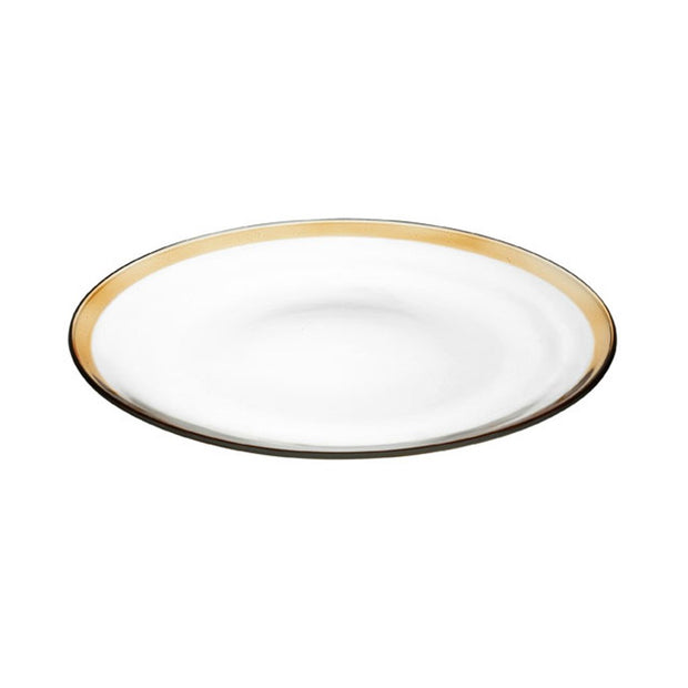 "European Lead Free Crystalline Dinner Plate -Artistically Designed- 11"" Diameter - Clear W/ Amber Border -Set of 6"