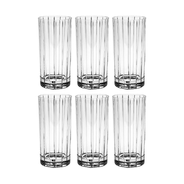 European Crystal Highball Tumbler W/ Classic Clear Striped Design - 14 Oz. - Set of 6
