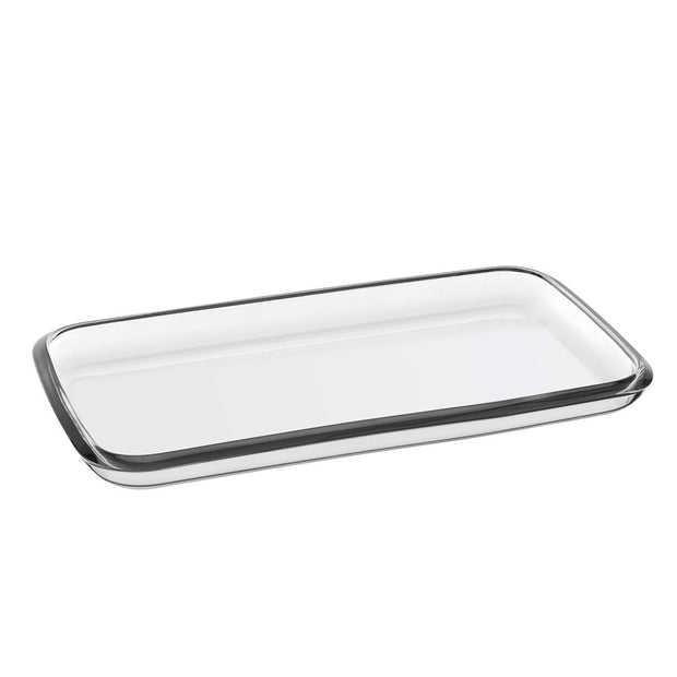 "European Glass Rectangular Serving Tray/ Platter- 14.2"" Long, 8"" Wide"