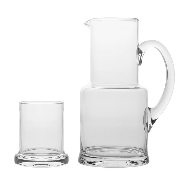 European Lead Free Crystalline 2 Pc Water Set -Bedside Carafe - Desktop - W/ 7 OZ. Tumbler - W/ Opal Handle - 30 Oz.