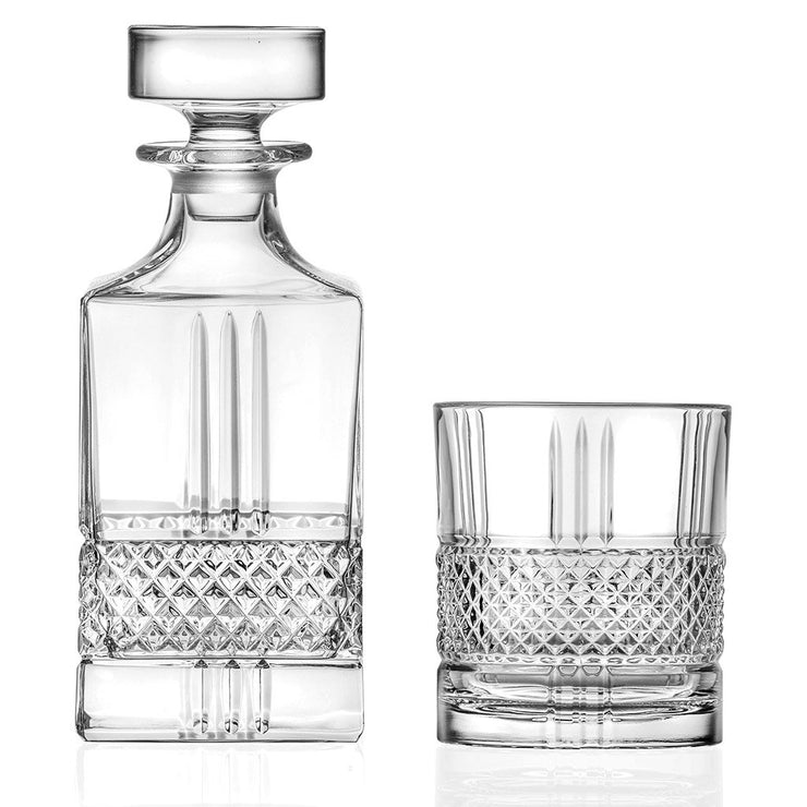 European Lead Free Crystalline Whiskey Decanter W/ 6 Double Old Fashioned Tumblers -7 piece set  -29 oz. Square Decanter -6 D.O.F. Tumblers - 12 oz.