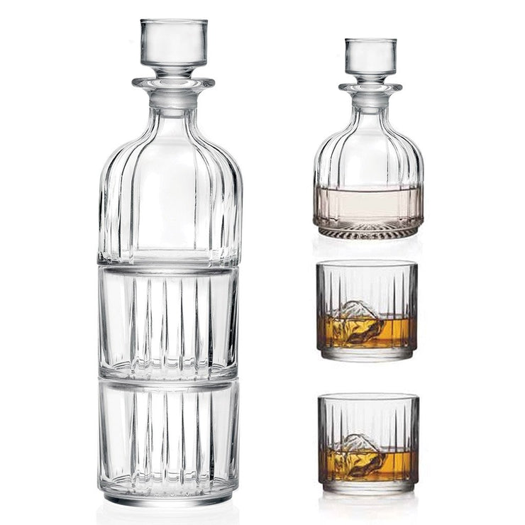 European Lead Free Crystalline Whiskey Decanter W/ 2 Tumblers -Stackable-  Decanter- 12 Oz. -2 D.O.F. Tumblers - 12 oz.