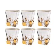 European Crystal Square Shaped Double Old Fashioned Tumblers - W/ Gold Ice Cube Design - 11.7 Oz. - Set / 6