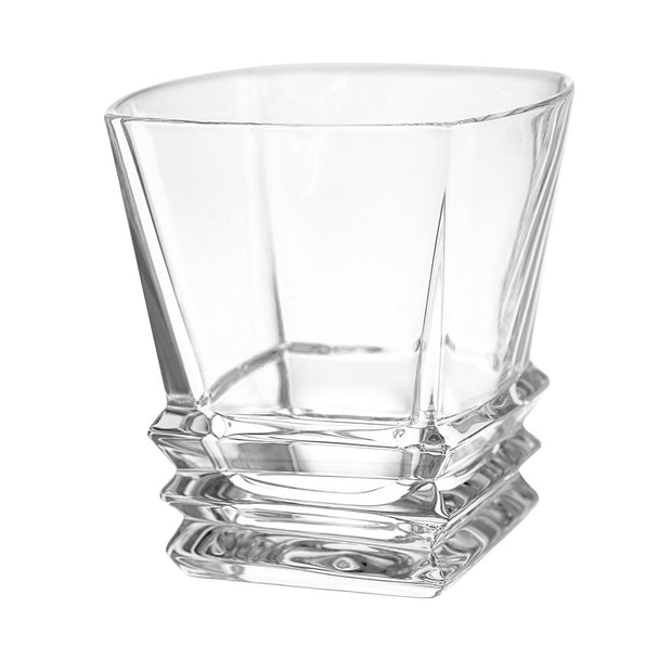 European Crystal Square Shaped Double Old Fashioned Tumblers - W/ Layered Glass Design - 11.7 Oz. - Set / 6