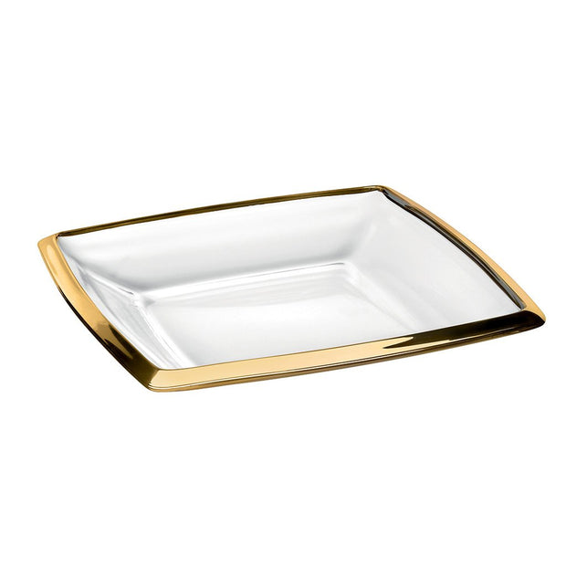 "European Lead Free Crystalline Serving Tray - Platter W/ Gold Rim - 11"" Diameter"
