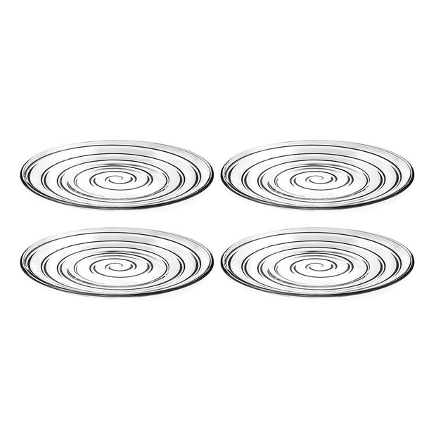 "European Lead Free Crystalline Glass Dinner Plate - Set of 4 Plates - Designed - 10.2"" Diameter"
