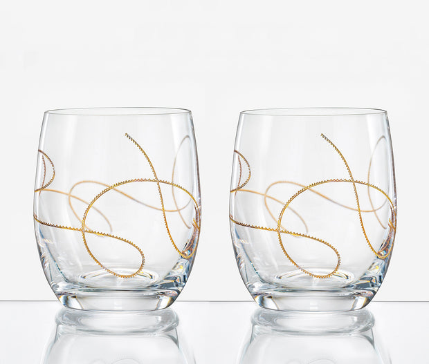 European Lead Free Crystalline Double Old Fashioned Tumbler W/ Gold String Design - 14 Oz.- Set of 2
