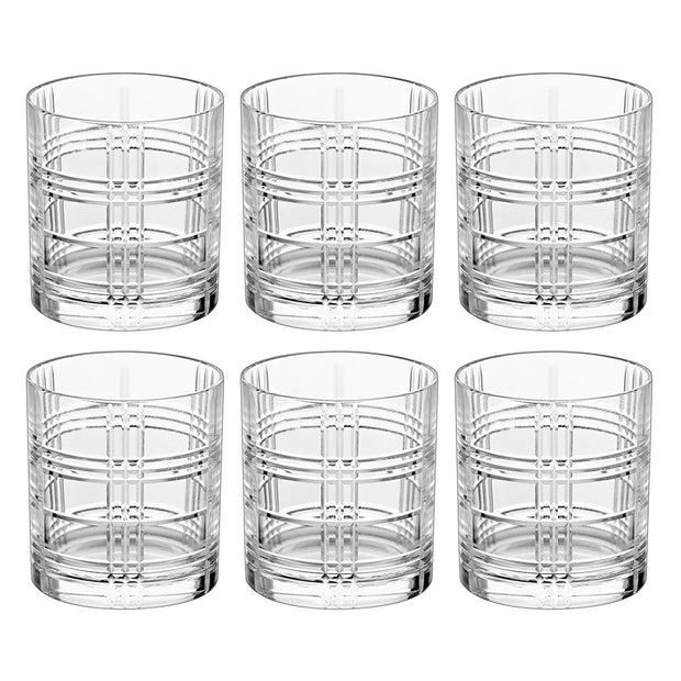European Lead Free Crystalline Double Old Fashioned Tumbler - Fully Designed - 12 Oz.- Set of 6