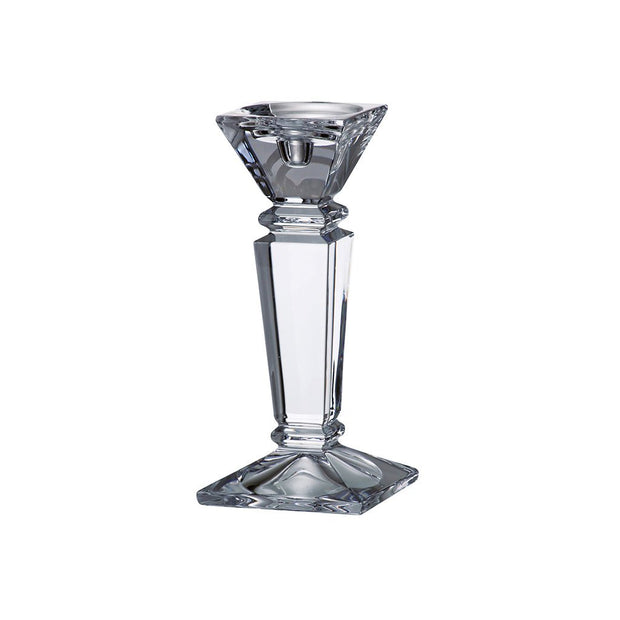 "European Lead Free Crystalline Candlestick - Specially Designed to Hold a Taper or Votive or Pillar - 10"" Height"