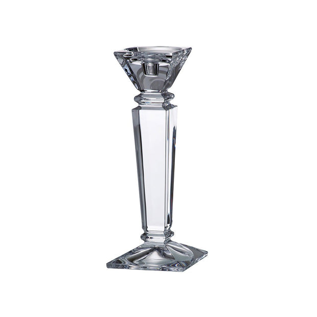 "European Lead Free Crystalline Candlestick - Specially Designed to Hold a Taper or Votive or Pillar - 12"" Height"