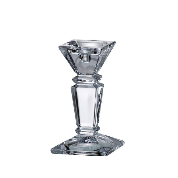 "European Lead Free Crystalline Candlestick - Specially Designed to Hold a Taper or Votive or Pillar - 8"" Height"