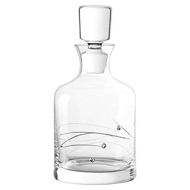 European Handmade Glass Sparkle Whiskey Decanter-Decorated W/ Genuine Swarovski Diamonds-Gift Boxed-26 oz.