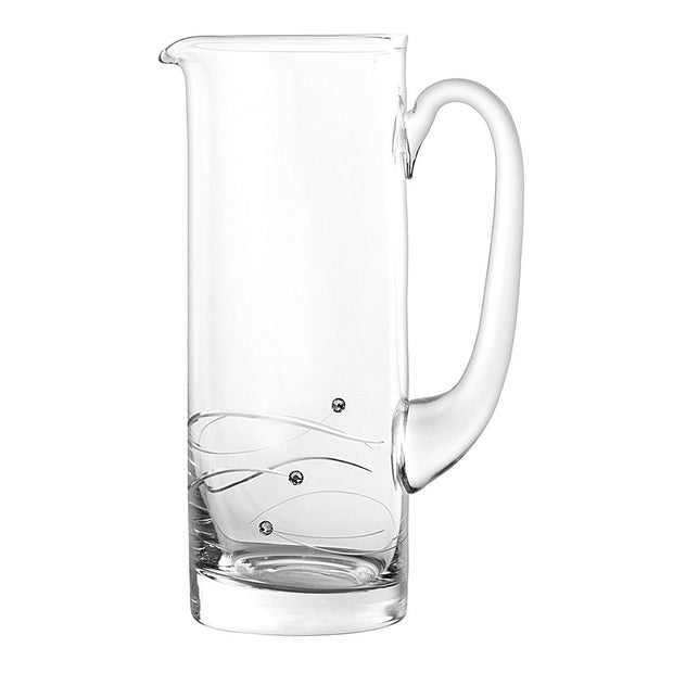 European Handmade Lead Free Crystalline Pitcher -Decorated with Real Swarovski Diamonds - Gift Boxed - 33 oz.