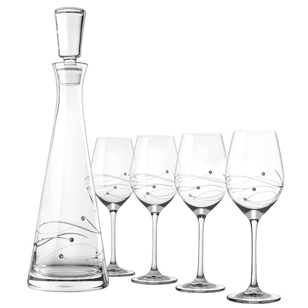European Handmade Lead Free Crystalline 33 oz. Tall Wine Decanter with 4 White Wine 12.5 oz. Glasses - Decorated with Real Swarovski Diamonds - Gift Boxed ( Set of 5)