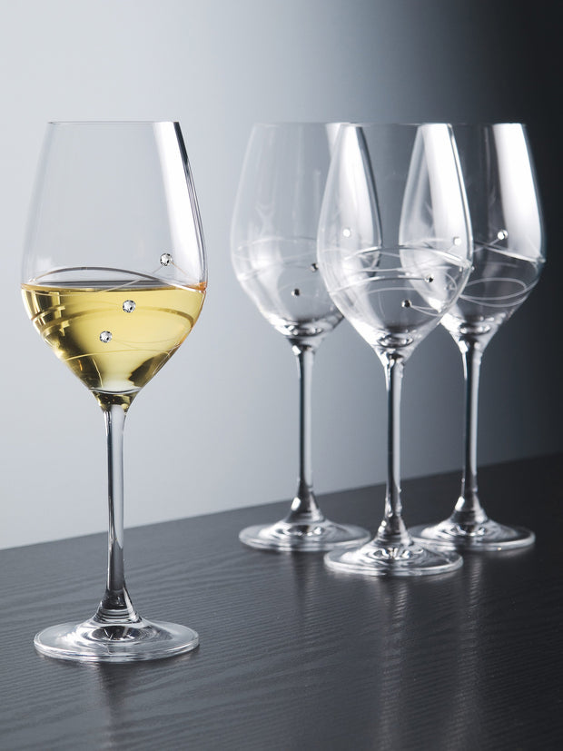 European Handmade Lead Free Crystalline White Wine Glass - Decorated with Real Swarovski Diamonds - Gift Boxed - 12.5 oz., Set of 4