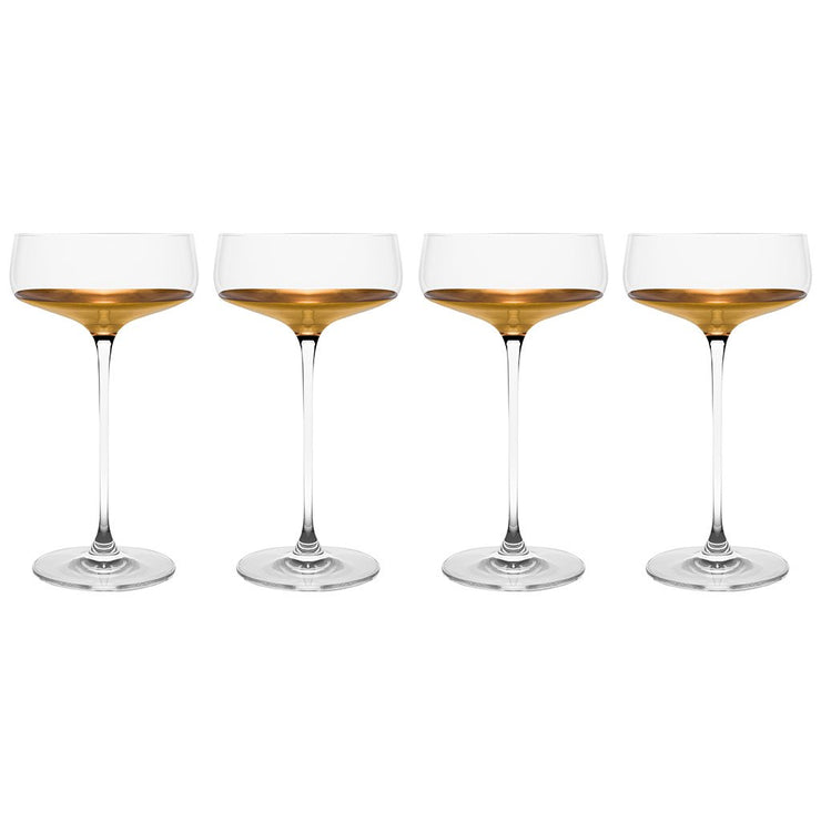 European Handmade Lead Free Crystalline Champagne Saucer- Decorated And Dipped in 20 K gold on the bottom - 10 oz. - Gift Boxed- Set of 4