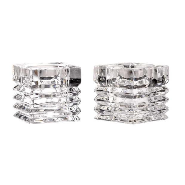 "European Quality Crystal Reversible Candlestick / Tealight Candleholder - 2"" Height - Set of 2"