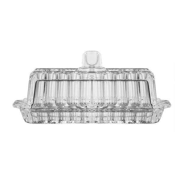 "European Cut Crystal Covered Butter / Cheese Dish - Rectangular - 7.25"" Length"