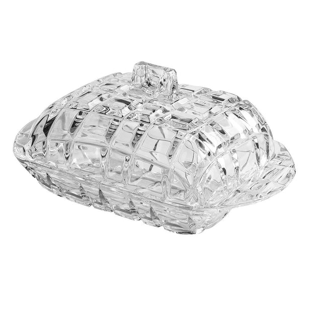 "European Cut Crystal Covered Butter / Cheese Dish - Rectangular - 6.8"" Length"