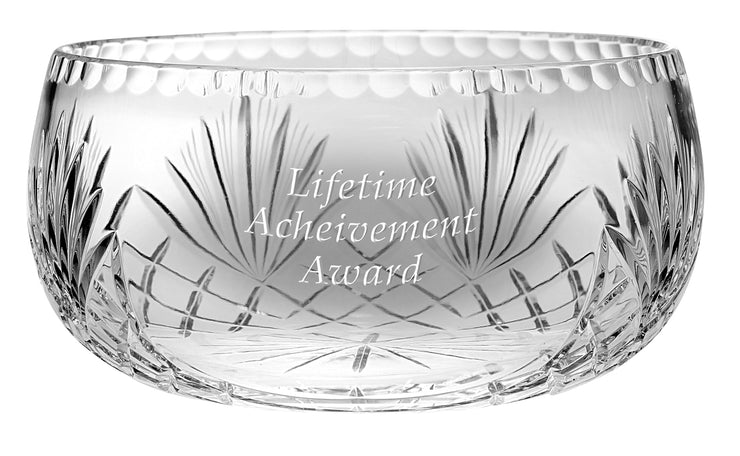 European Hand Cut Crystal Bowl W/ Blank Panel For Engraving