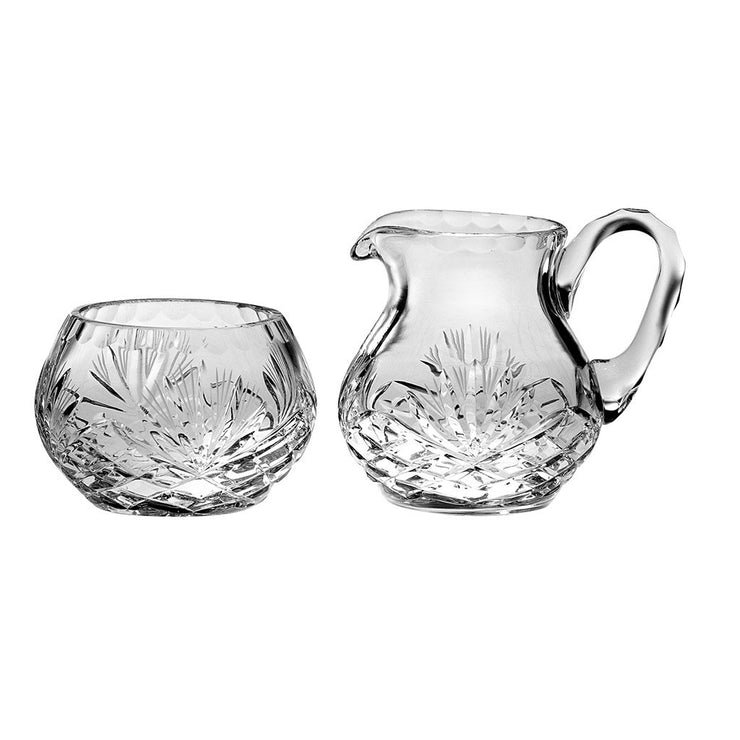 European Hand Cut, Mouth Blown Crystal Sugar & Creamer Set