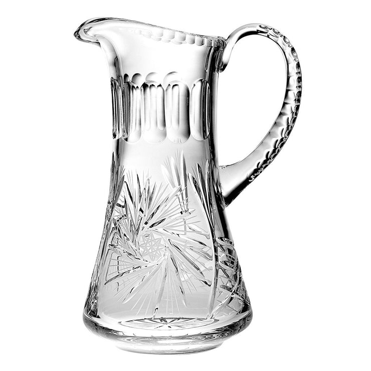 "European Hand Cut Crystal Pitcher- 54 oz., 11"" Height"