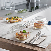 European Lead Free Crystalline Oven To Table Dishes - Can be used Directly from heating the food in oven to serve on table - (Cover and base can be used as separate Serving Trays) Medium