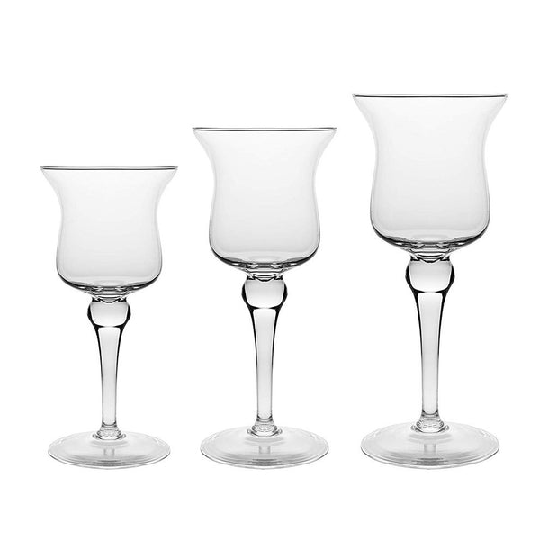 "European Quality Hand Blown Lead Free Crystalline Set of 3 Pillar Candle Holders , 11.5"" Height, 13.25"" Height , 15.5"" Height"