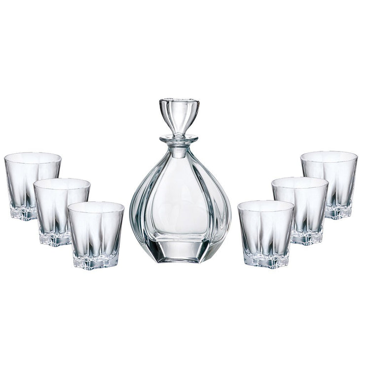 European Lead Free Crystalline 7 Piece Bar Set- For Whiskey, Wine, Liquor Includes 32 oz. Decanter - 6 Pcs of 8.8 oz. Double Old Fashioned Glasses - Gift Boxed