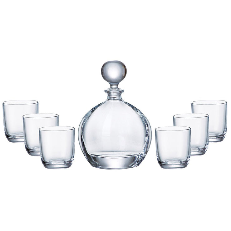 European Lead Free Crystalline 7 Piece Bar Set- For Whiskey, Wine, Liquor Includes 27 oz. Decanter - 6 Pcs of 9.5 oz. Double Old Fashioned Tumblers - Gift Boxed