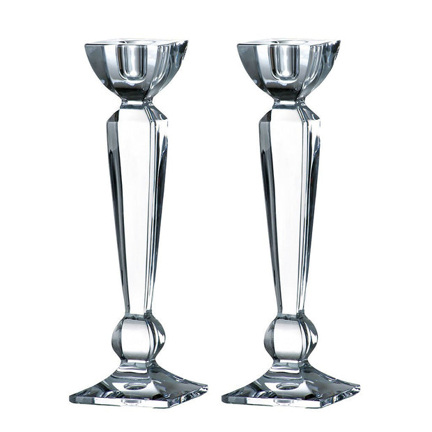 "European Lead Free Crystalline Candlestick / Holder - 10"" Height -Set of 2 - Fits Standard Candlestick Diameters"