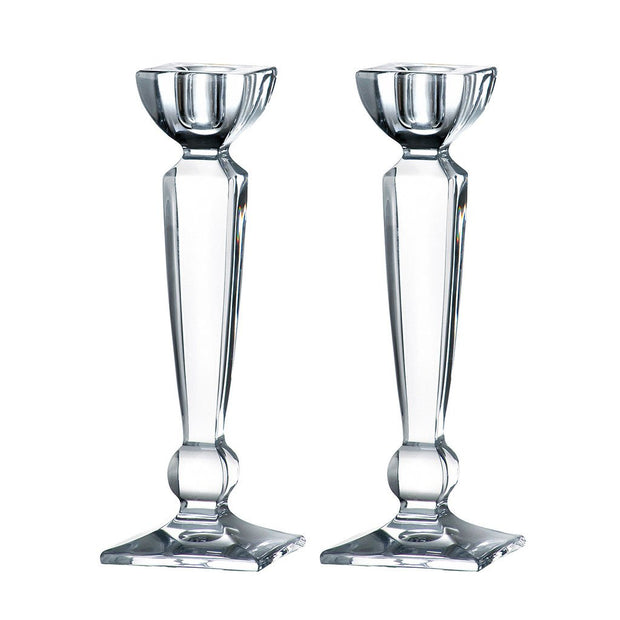"European Lead Free Crystalline Candlestick / Holder - 8"" Height - Set of 2 - Fits Standard Candlestick Diameters"