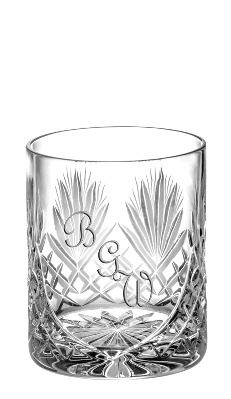 European Hand Cut Crystal Double Old Fashioned Tumblers W/ Blank Panel For Engraving - 14 OZ - Set of 6