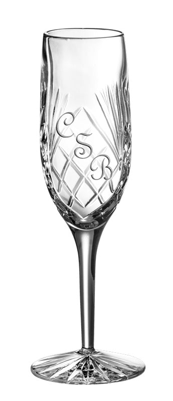 European Hand Cut Crystal Champagne Flute W/ Blank Panel For Engraving - 6 Oz. - Set of 4