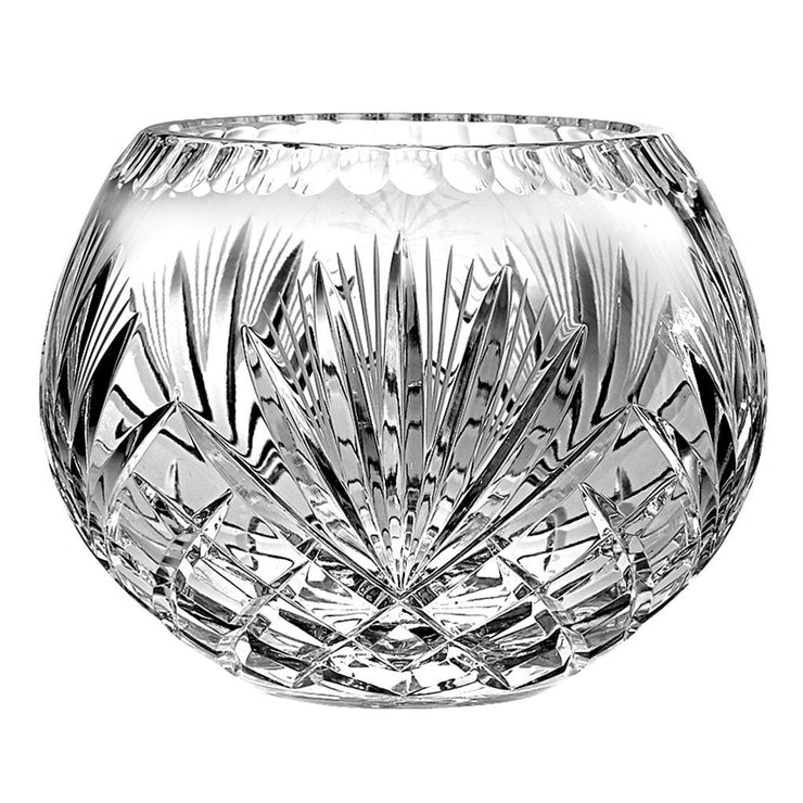 "European Hand Cut Crystal Rose Bowl / Centerpiece Bowl - 8"" Diameter"