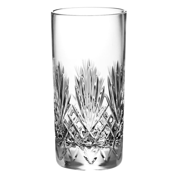 European Hand Cut Crystal Highball Tumblers for Water, Juice, Wine, Beer and Cocktails  - 15 oz., Set of 6