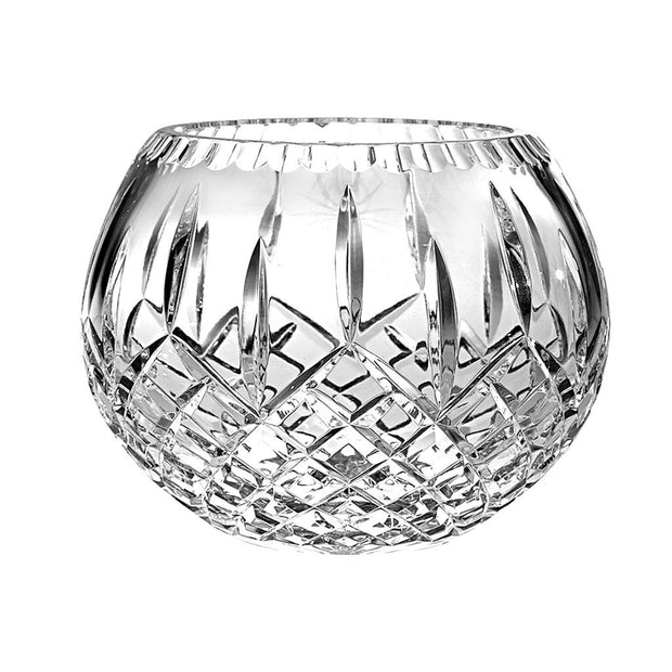 "European Handmade Crystal Rose Bowl / Votive - 6"" Diameter - Plaza Design"