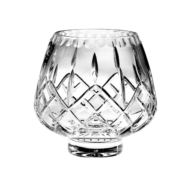 "European Quality Hand Cut , Mouth Blown Crystal Footed Rose Bowl / Votive - 6"" Diameter"