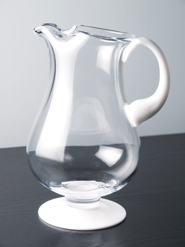 "European Lead Free Crystalline Footed Pitcher W/ Opal Handle & Base - W/ Spout & Ice Lip - 9.75"" Height - 78 Oz."