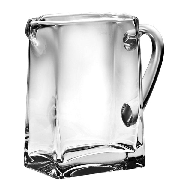 "European Handmade Lead Free Crystalline  Rectangular Pitcher W/ Handle W/ Spout- 32 oz., 6.75"" Height"
