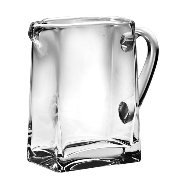 "European Handmade Lead Free Crystalline  Rectangular Pitcher W/ Handle W/ Spout- 43 oz., 8"" Height"
